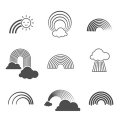 Black and white rainbow icons summer vector