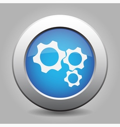 Blue metal button with three cogwheel vector