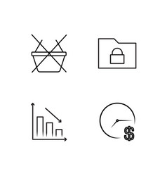 Business simple outlined icons set vector
