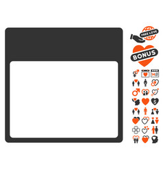 calendar page template icon with lovely bonus vector image