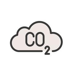 carbon monoxide on cloud flat icon vector image