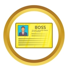 Card of boss icon vector
