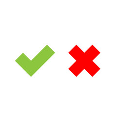 Check mark icons green tick and red cross flat vector