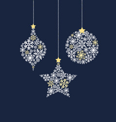 christmas balls made from snowflakes vector image