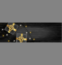 christmas banner background of gifts and lights vector image