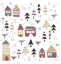Christmas pattern with houses and trees vector