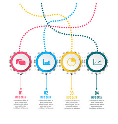 Circle infographic template four option process vector