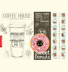 Coffee menu design template for coffee house vector