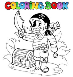 coloring book with young pirate vector image