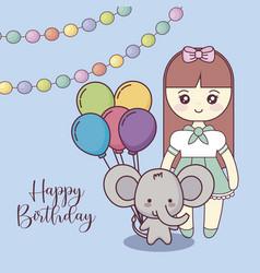 Cute elephant with little girl happy birthday card vector