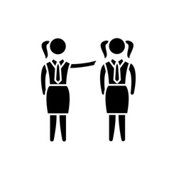 Female mentoring black icon sign on vector