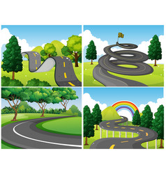 four scenes of park and empty roads vector image