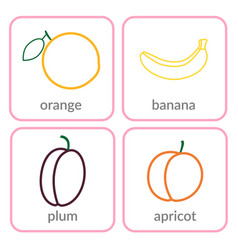 Fruits and berries objects icons set isolated vector