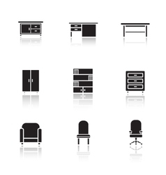 Furniture black icons set vector image