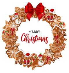 gingerbread wreath vector image