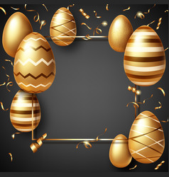 golden eggs on black realistic easter sale banner vector image