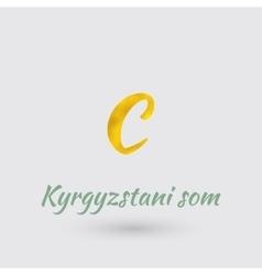 Golden Symbol of Kyrgyzstani Som vector