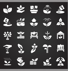 Grow icons set on black background for graphic and vector