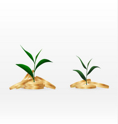 growing plant on coin money for finance and vector image