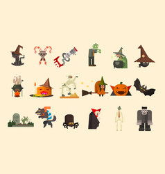 halloween elements and funny characters zombie vector image