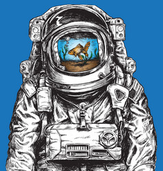 hand drawn astronaut filled with water and goldfis vector image