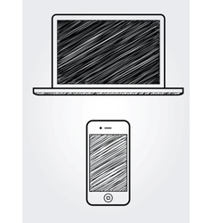 Hand drawn computer and cellphone vector image