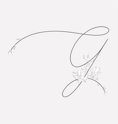 hand drawn floral g monogram and logo vector image