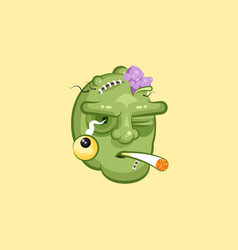 head terrible facial expression of zombie smoking vector image