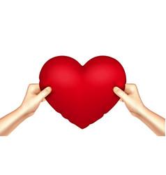 Heart pillow in hands realistic vector