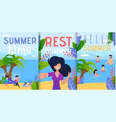 Hello summer vacation rest flat banner set vector