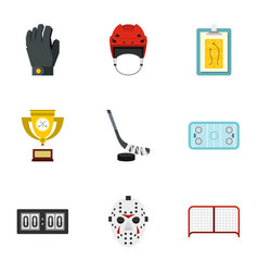 hockey equipment icons set flat style vector image