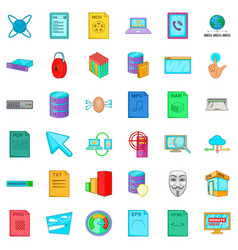Html icons set cartoon style vector