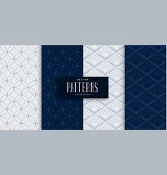 japanese sashiko pattern set in gray and indigo vector image