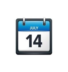 July 14 calendar icon flat vector