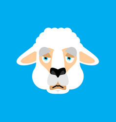 lama alpaca sad face avatar animal sorrowful emoji vector image