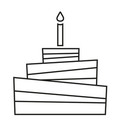 line art black and white birthday cake vector image