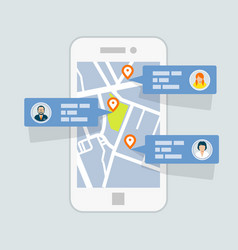location check-in on map - mobile gps navigation vector image