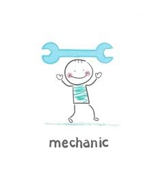 Mechanic holding blue key vector