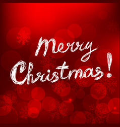 merry christmas card with text on red background vector image