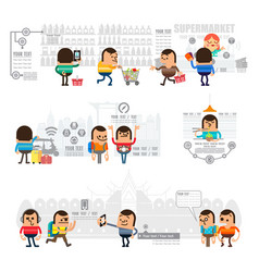 mobile shopping and concept infographic vector image