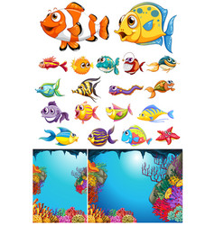 Ocean scene and many sea animals vector