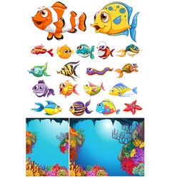 ocean scene and many sea animals vector image