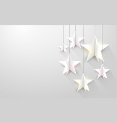 Paper art white stars hanging on strings vector