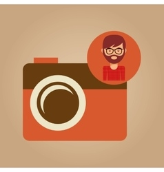 Photographic camera face man hipster color vintage vector