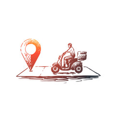 Pizza delivery concept hand drawn sketch isolated vector