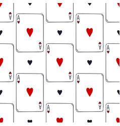 Playing cards seamless pattern ace hearts vector