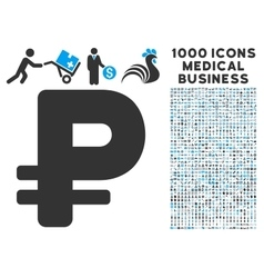 Rouble Icon with 1000 Medical Business Pictograms vector image