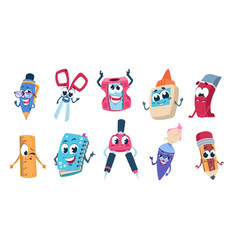 school cartoon characters pencil book and vector image