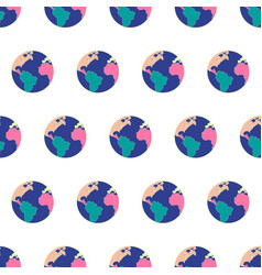 Seamless pattern with planet earth world symbol vector