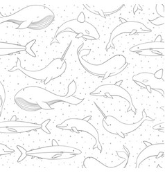 seamless pattern with whale shark narwhal art vector image
